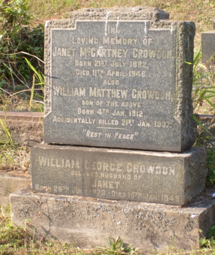 Growdon grave in Stellawood Cemetery, Durban