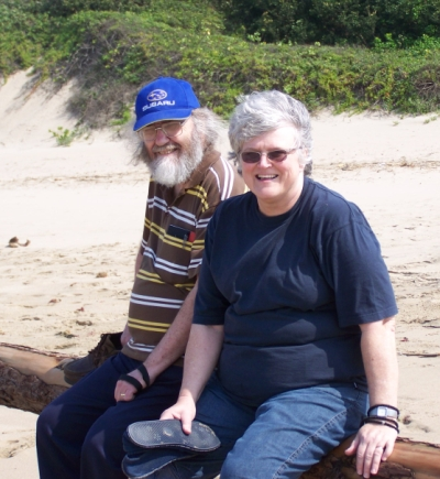 Steve & Val Hayes on the beach at Trafalgar 23 August 2008