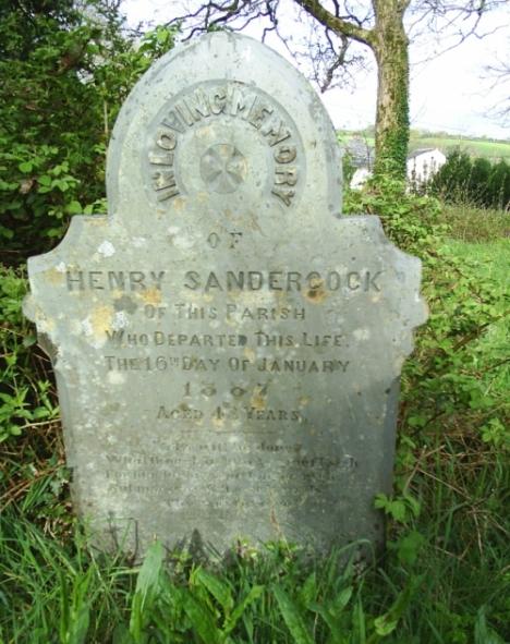 Henry Sandercock tombstone in Cardinham Churchyard