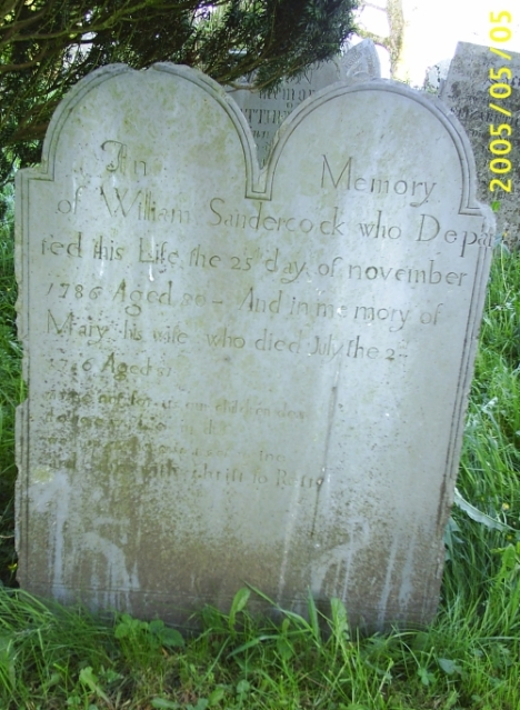 Grave of William and Mary Sandercock, Cardinham, Cornwall