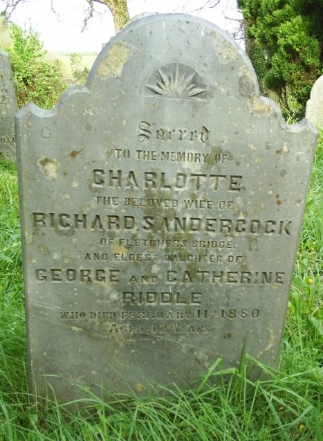 Sandercock tombstone in Cardinham churchyard, Cornwall