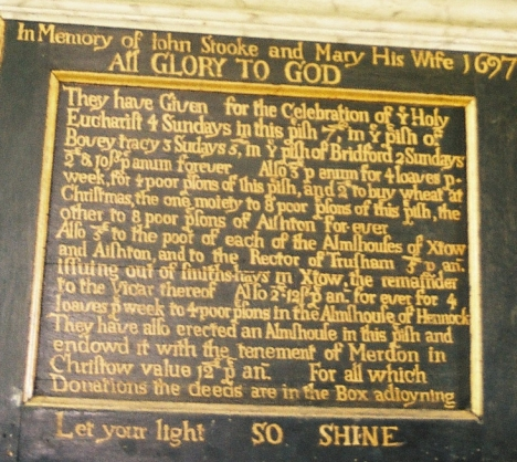 Stooke memorial inscription in Trusham Church, Devon