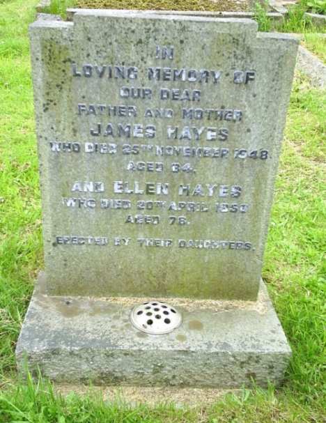 Hayes grave in North Curry churchyard