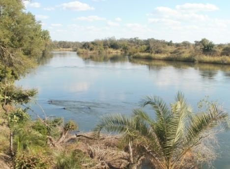 Okavango River just below the Popa rapids