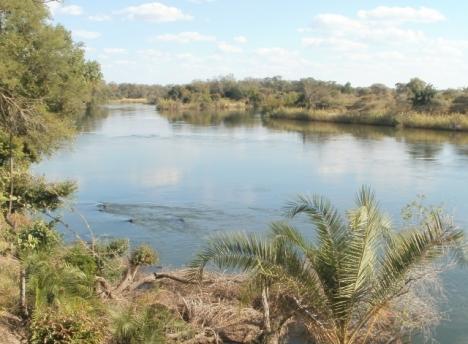 Okavango River just below the Popa rapids
