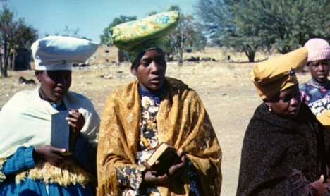 Herero fashions in 1970: Younger women after an Oruuano Church service in Gobabis old location.