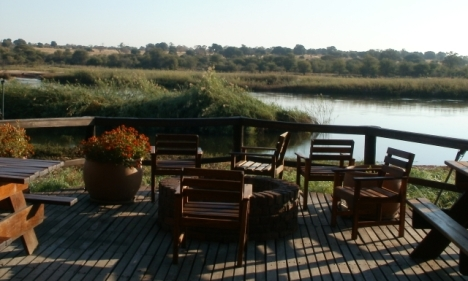 View over the Okavango River from the dining room of Kaisosi River Lodge