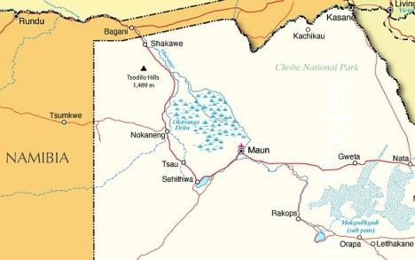 Parts of Namibia and Botswana we travelled through 21-25 May 2013