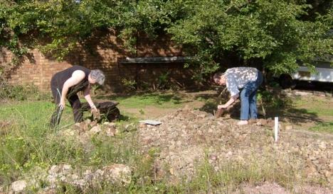 Val & Simon preparing to turn the ruin into a kitchen garden