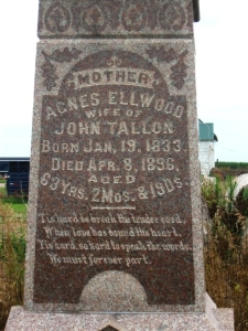 Gravestone of Agnes Ellwood who married John Jackson Tallon. Hieronymus Cemetery, Armington, Illinois, USA