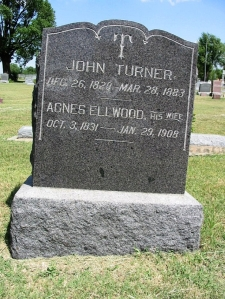 Gravestone of John Turner and Agnes Ellwood in Towanda, Kansas, USA