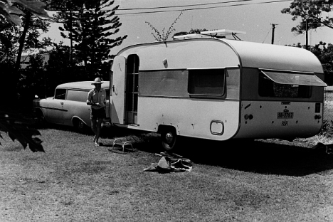 Jack Stokes with their caravan and the old 1956 Chev van they used to pull it, in our backyard in Melmoth, January 1979.