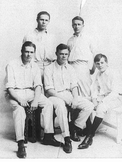 The Tapscott boys: Back: Norman and Sidney. Front: Lionel Eric (Doodles); George Lancelot (Dustry); Cecil Leander.