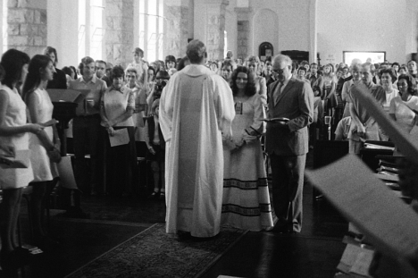 Wedding of Stephen Hayes and Valerie Greene at St Martin-in-the-Fields Anglican Church, Durban North. 29 September 1974