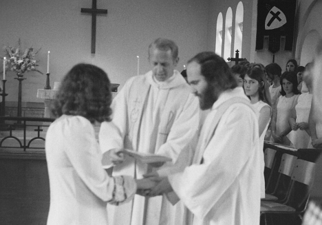 Wedding of Stephen Hayes & Valerie Greene, 29 Sep 1974. The officiant was the Revd Arnold Hirst