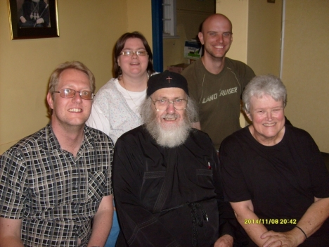 Family gathered for our Slava: BacK Elmarie Downs and Jethro Hayes. Front: Graham Downs, Stephen & Valerie Hayes