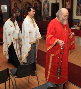 Entrance procession at Vespers: Fr Athanasius Akunda, Fr Elias Palmos & Deacon Stephen Hayes