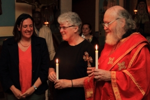 Nicky (Nektaria) Reynders, Val & Steve Hayes, celebrating name day and Slava at St Nicholas, Brixton