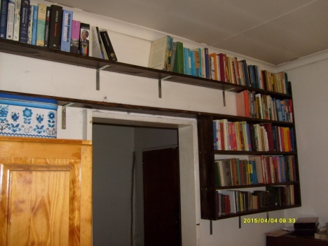 Val and Jethro added new shelves, so we could put out some of our small books stored in boxes.