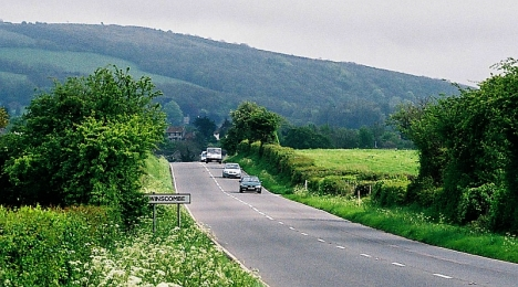 The road to Winscombe, at the foot of the Mendip Hills in Somerset 3 May 2015
