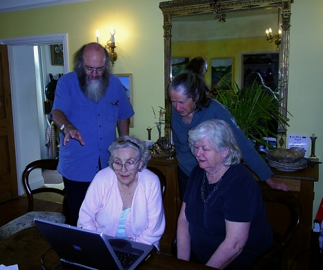 Looking at the family history: Steve Hayes, Josephine Tsegaye, Mary Jane Conway, Catharine Stokes. 3 May 2005