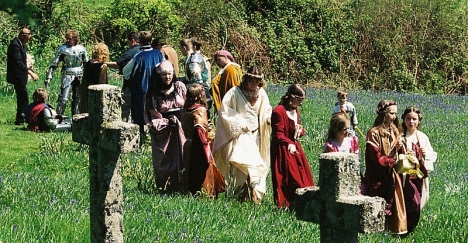 Medieval wedding at Temple, Cornwall. 5 May 2005.
