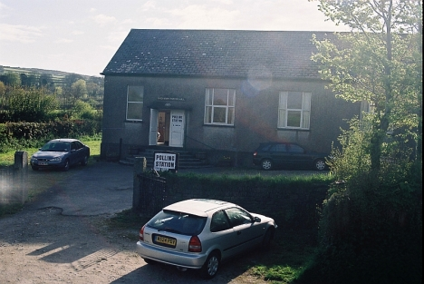 Cardinham parish hall, Cornwall, being set up for use as a polling station in the General election, 5 May 2005
