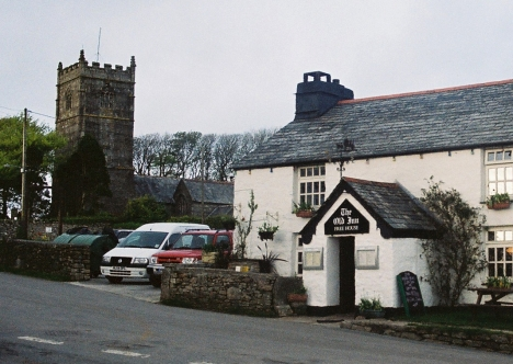St Breward Church and pub. 5 May 2005