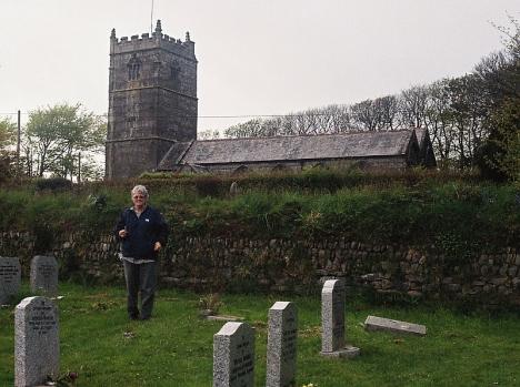 Val Hayes in St Breward churchyard, 5 May 2005