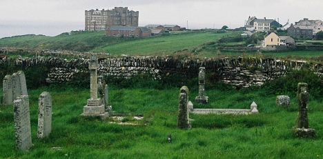 Tintgel village, from the churchyard. 6 May 2005