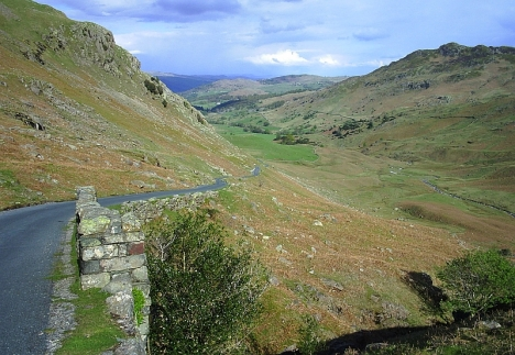 The Wrnose Pass, looking back East towards Windermere. 9 May 2005.