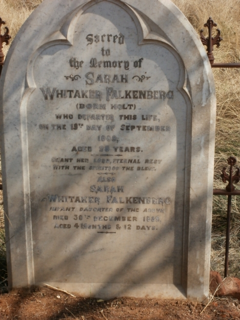 Grave of Sarah Whitaker Falkenberg and her infant daughter
