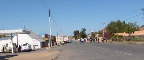 Garies in the Northern Cape. Since the N7 now bypasses the town, children walk home from school in the middle of the road, though in my day we finished school at 3 pm, not noon.