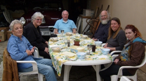Vause cousins at lunch, Robertson 23 Aug 2015: Eunive Vause, Val Hayes, Wyatt Vause, Steve Hayes, Sandy & Kerry Struckmeyer