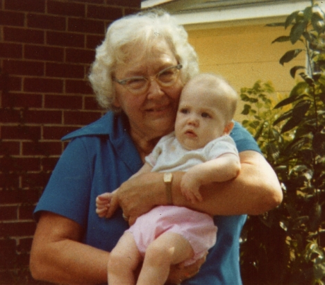 Louise Deragowski with her great grand-niece Kristin Marie Siegrist (now Kristin Hammock) , Christmas 1981.