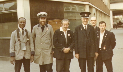 Lascelles Wood and Steve Hayes, with Revd Inspector Tom Field (in cap) at Cannon Street Station.