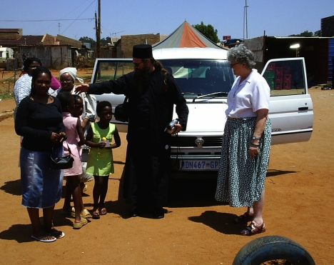 At Tembisa, with Fr Spiridon of St Thomas's Church in Sunninghill